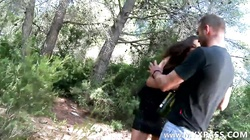 French girl fucked by two guys into the woods