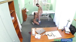 Slender European slut is having sex with a horny doctor