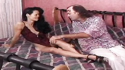 Kinky brunette Asian milf is enjoying his massive wide sausage