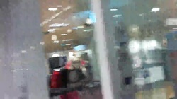 Lustful tramps in red mesh suck my dick in the mall!
