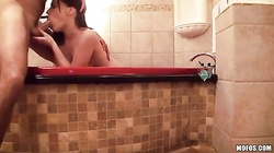 Watch me thrust this pussy hard in the bathroom - after this hottie blows my dick