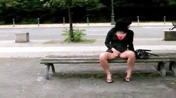 Brunette spreads her legs outdoors and then gulps every drop of my cum