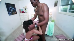 Dude with a big black pipe fucks with a nice young brunette