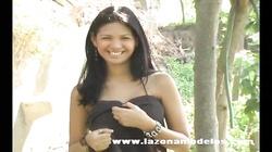 Elegant big-breasted brunette Karla Spice poses in the woods