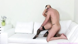 Slender whore in black stockings is getting fucked in the doggy style pose