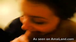Horny as fuck clothed brunette teen gf is jerking and sucking dick