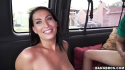 Black-haired milf is riding on the dick of a horny driver