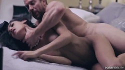Elegant bur hardcore sex in the bedroom with a beautiful brunette