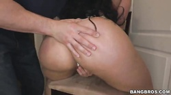 Kinky black-haired bitch kneeling and sucking tasty dick