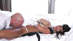 Bald man is licking her tight pussy and fucking her face