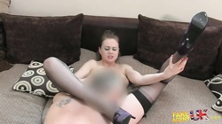 Big-ass milf in stockings fucks with interviewer in Fake Agent UK video