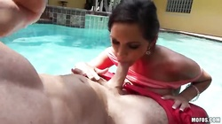 Dick-sucking angel is giving an amazing blowjob in the pool