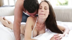 Dark-haired goddess is swallowing juicy prick of a horny man