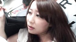 Reckless Asian hottie likes to get her cunt touched in public places