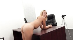 Hot elegant blonde is being fucked at the casting in the hot POV scene