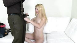 Little young blonde is performing a good head at the casting