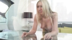 Blonde with massive tits is getting fucked in her little face