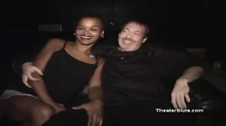 Small-tit ebony is sucking some huge white pricks in the club