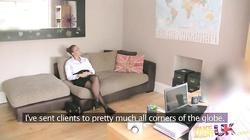 Big-breasted blonde banging with Fake Agent UK on sofa