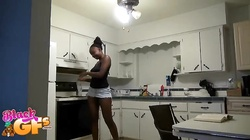 Amateur ebony girlfriend blowing hard white prick with closed eyes