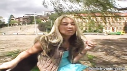 Outdoor blowjob for cash by a stunning blonde hottie