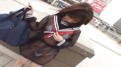 Mikan Cute Asian student flashes her part6