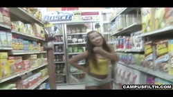 College kids flashing in the supermarket and sucking dick