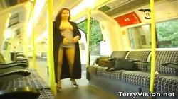 Hot babe flashing naked at the public train