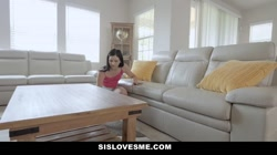 SisLovesMe - Stepsister Catches Stepbro Looking At Porn And Blows Him