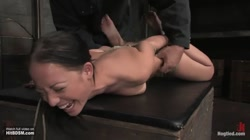 Kylie bondage on table and whipped and made to cum