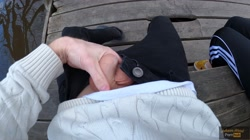 Caught while finish me off! Public handjob by cute teen